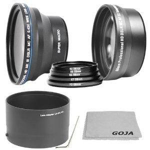 67MM 0.43X High Definition Wide Angle Lens with Macro Portion+ 2.5X High Definition Telephoto Lens + 5 pcs Adapter Ring Kit (52, 55, 62, 67, 72MM) + Lens Tube Adapter + 1 Ultra Fine Microfiber Cleaning Cloth GOJA Logo For NIKON COOLPIX L100 L-100. Kit includes 0.43X Wide Angle/fisheye lens + 2.5X Telephoto converter + Lens Adapter.