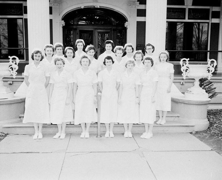 St. Joseph School of Practical Nurses Class of 1952.. Photo was taken on the front porch of St. Joseph Mercy Hospital, 215 North Avenue in Mt. Clemens