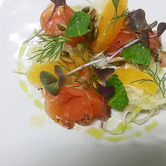 Gralax salmon,  fennel, orange, pepitas, herbs. 1st course from last night's dinner service. #simple #degustation #palatefooddrink #mmm