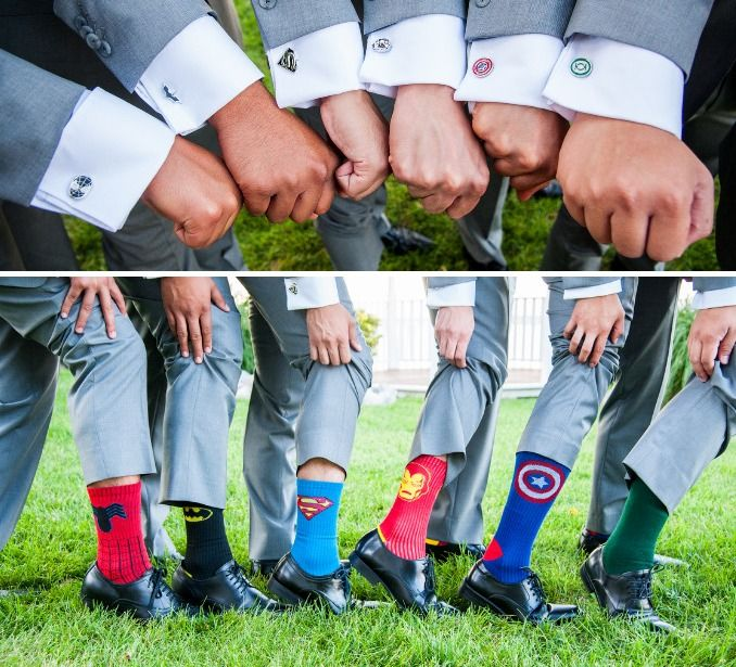 Super Hero Groomsmen |  Victor & Jenn's Waterfront Superhero Wedding | http://www.weddingfavorsunlimited.com/bridal_blog/2015/07/15/victor-and-jenns-waterfront-wedding/