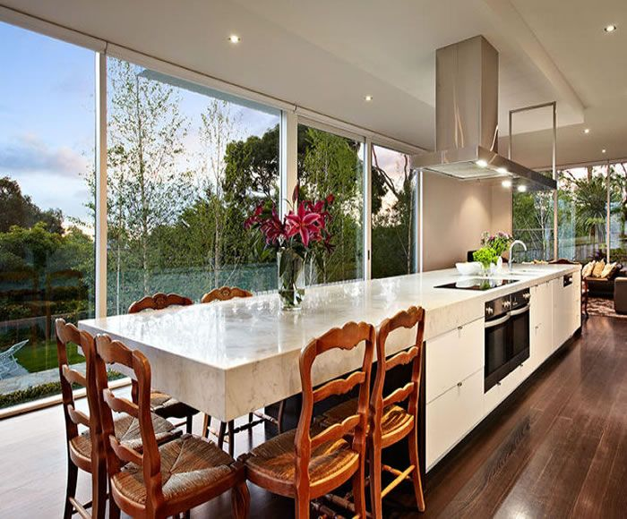 47 Glen Shian Lane Mt Eliza Grey White Marble Beautiful Kitchen Dining Table Part Of Island