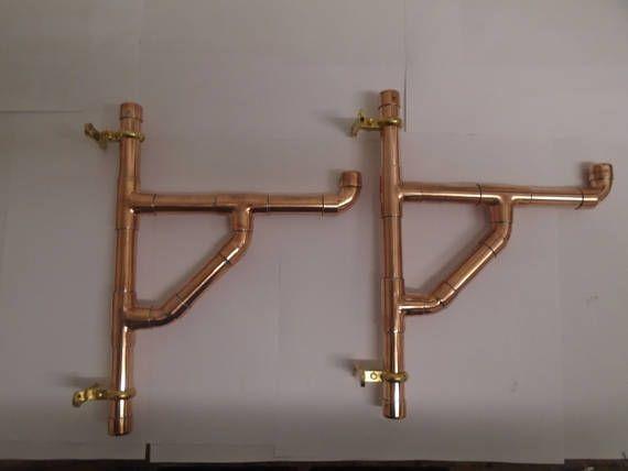 Pareja de hecho a mano estilo industrial cobre tubo soportes