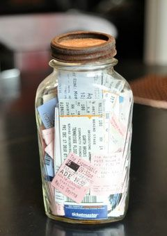 Ticket Memory Jar: FastPasses, park passes, etc. fun idea! Cute idea for