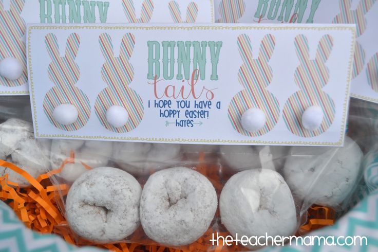 Classroom Easter Ideas ~ Easter class treat bunny tails free printable from
