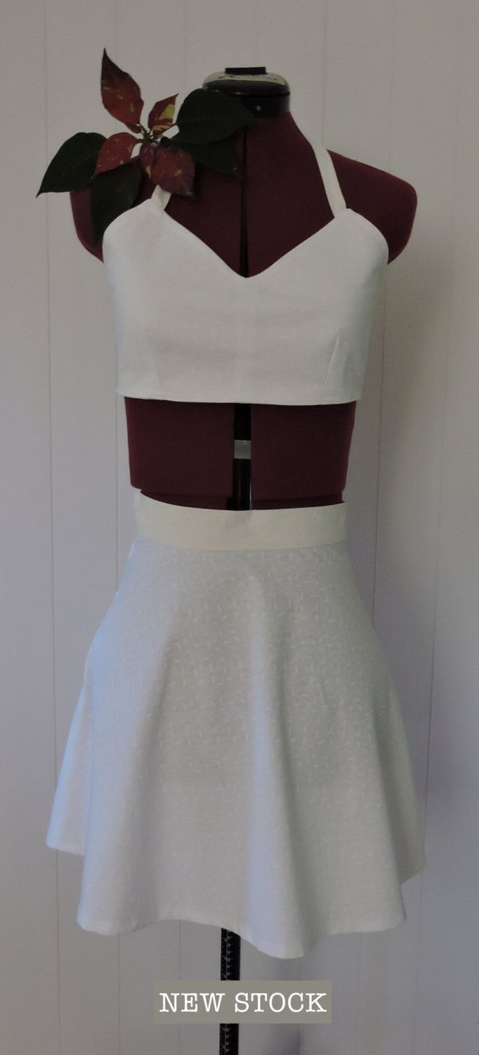 Top and Skirt Set, Beautiful Quilters Cotton, Handmade, Size XS - S, White & Cream Colour, Halter Top, Flared Skirt, Festival Clothes by dezignhub on Etsy https://www.etsy.com/au/listing/294282893/top-and-skirt-set-beautiful-quilters