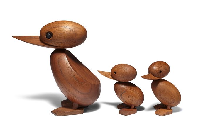 In 1959, a Danish police officer stopped traffic in order to let a young family of ducks across the road. Inspired by the newspaper photographs, Hans Bøling designed duck and duckling figures to playfully commemorate the event. Now icons of Danish design, these birds exemplify the art of handcrafted wood.