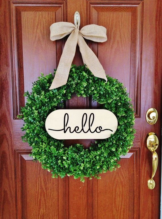 Boxwood Wreath with Hello Sign