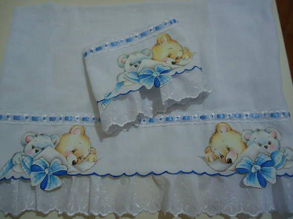 Fralda pintada recortada urso c/ laço