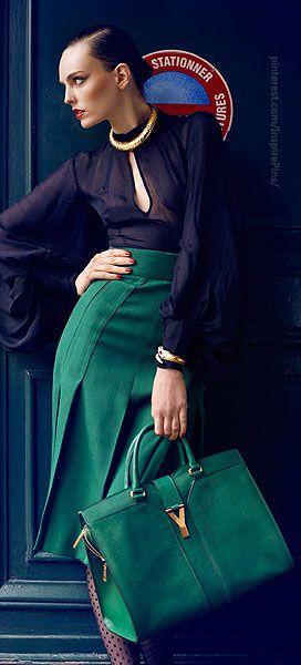 YSL. black blouse. love the bag