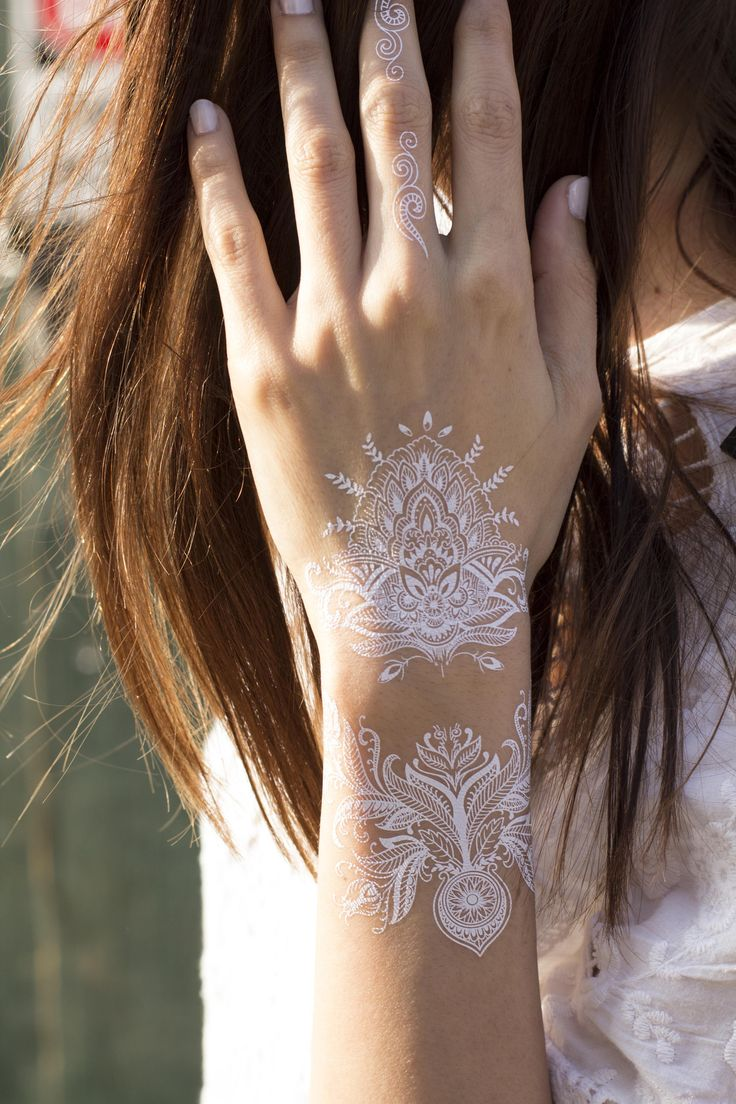 White Henna Temporary Tattoo. Lace. Pack of 2 sheets.