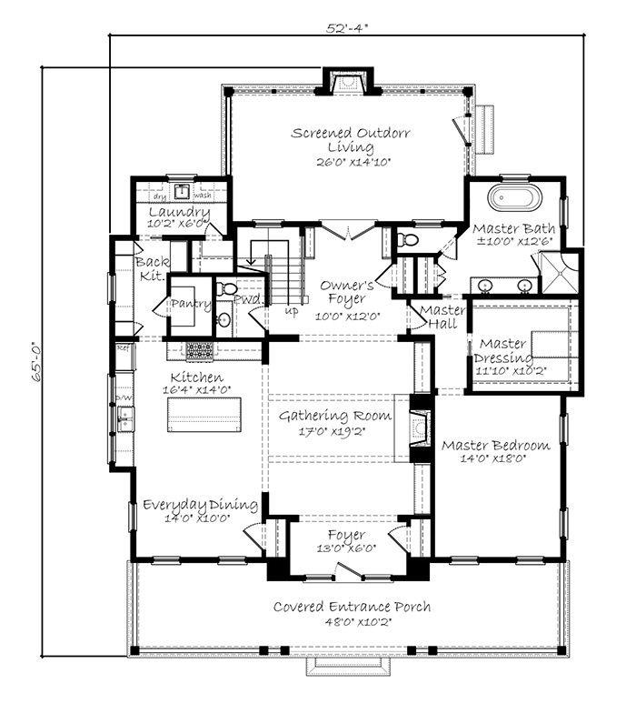 Sl2000 Mainfloor Cottage Floor Plans Southern Living House Plans House Plans Farmhouse