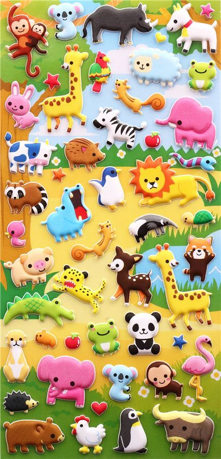 zoo animals 3D sponge stickers and sticker book from Japan