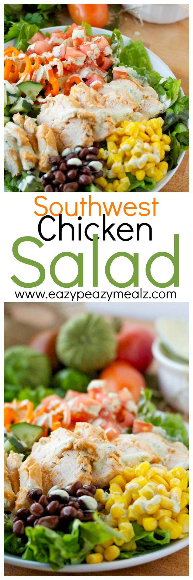 Southwest Chicken Salad: Eat healthy never tasted so good. This salad is packed with everything delicious and topped with marinated chicken! - Eazy Peazy Mealz