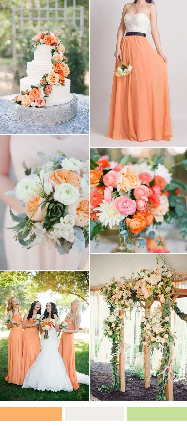 TBQP286 peach orange fall wedding color ideas white - orange bridesmaid dress