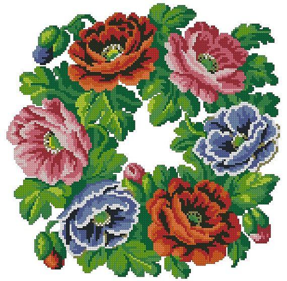 Poppies wreath vintage cross stitch pattern for Berlin wool work                                                                                                                                                      Mais