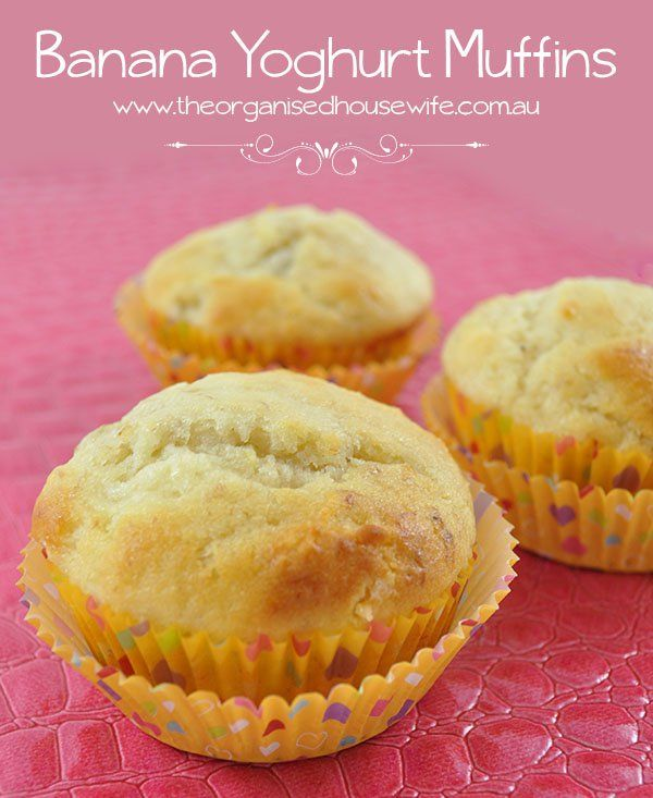 Banana Yoghurt muffins Print Prep time 5 mins Cook time 20 mins Total time 25 mins Serves: 12 Ingredients 1¾ cups self-raising flour ½ cup caster sugar 1 cup natural yog...