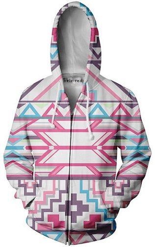 Beloved Shirts Pink Aztec Zip Up Hoodie - Premium All Over Print Jacket