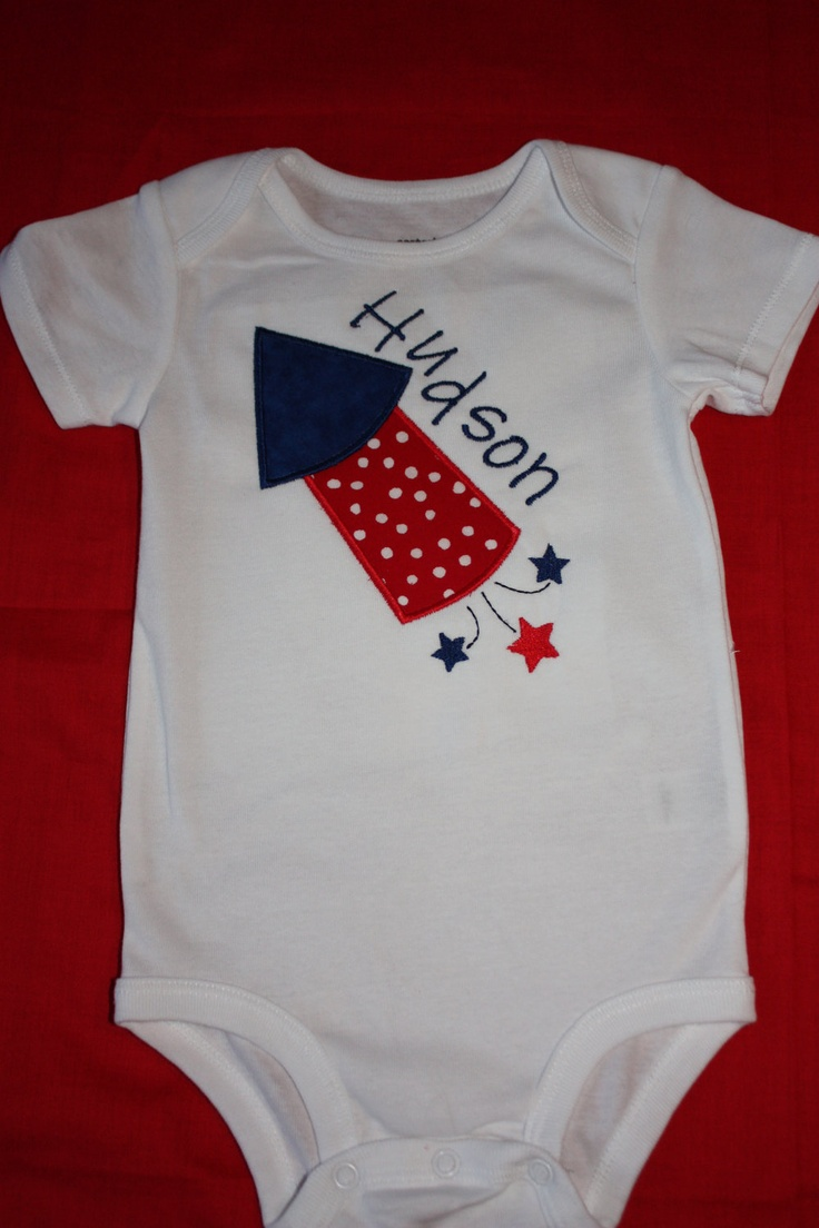 Boys personalized applique fourth of july firework by