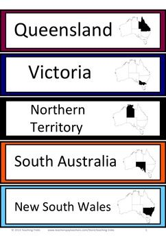 AUSTRALIAN GEOGRAPHY FREEBIE - Word Wall cards - states and territories of Australia, including a map showing location in Australia.
