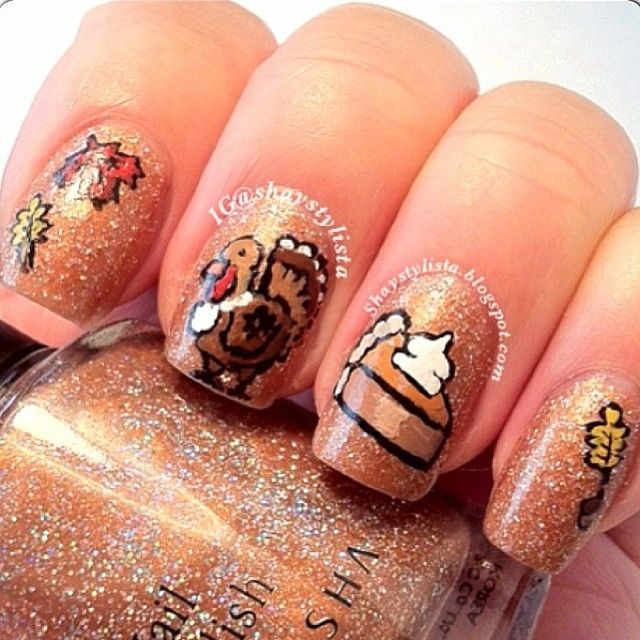 I am unfolding before you 18 Turkey nail art designs, ideas, trends &  stickers of These patterns will reflect the true Thanksgiving spirit and  your - 72 Best Thanksgiving Nail Designs Images On Pinterest Autumn Nails