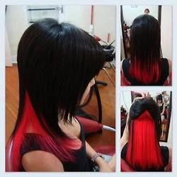 blonde and black hair styles 25 best ideas about peekaboo highlights on 8446 | aa9747e2dc2857c4e8446b880a904f17 red peekaboo highlights black hair with red highlights