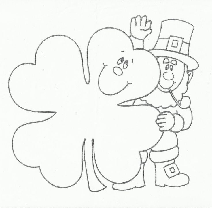 4 clovers and leprechaun coloring picture