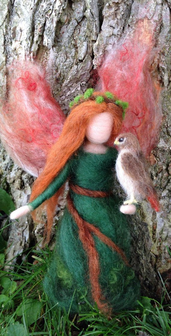 Needle Felted Woodland Fairy, Custom, Hawk, Bunny