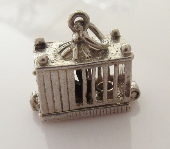 Silver Enamel Rabbit in a Hutch Articulated by TrueVintageCharms