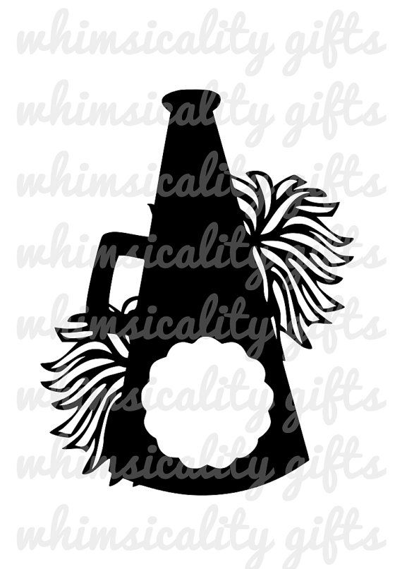 Digital File - Cheerleading Megaphone Monogram with Pom Poms with SVG, DXF, PNG Commercial & Personal Use