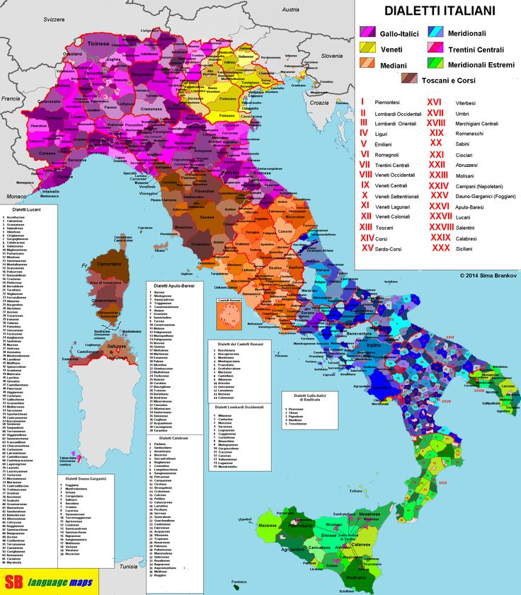 #Italian #dialects / Dialetti italiani...beautifully detailed and colourful map depicting the spread of dialects across Italy