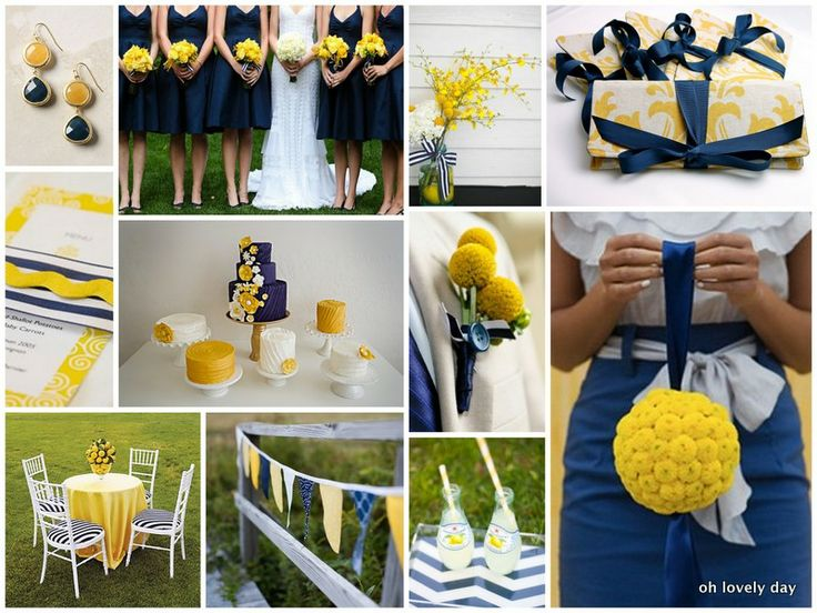 yellow and navy wedding centerpieces | inspiration} Summery outdoor wedding with preppy patterned details ...