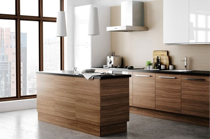 Ikea Kitchen cabinets - walnut stainless steel (think more dramatic extractor fan and frosted glass wall cupboards