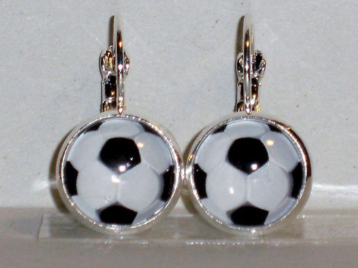 Ohrringe Fußball Sport Glas Ø14mm Glasstein Cabochon
