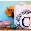 Monogram Stenciled Canvas Bag Tutorial | TidyMom.net