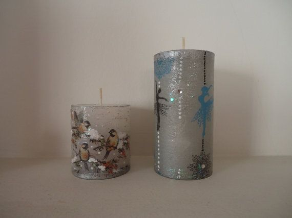 Set of Two Hand-decorated Pillar Candles On snowy by VesArtAtelier
