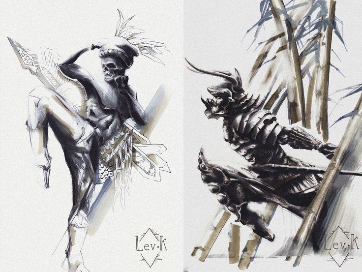 эскиз.самурай. ниндзя. меч.восток.япония.череп. мма. тату. tattoo. sketch. japan. art/ mma. xma. fight
