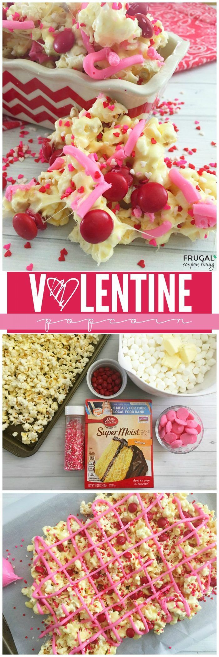 Valentine Popcorn Treats Recipe on Frugal Coupon Living. Valentine class party idea or Valentine Dessert idea.