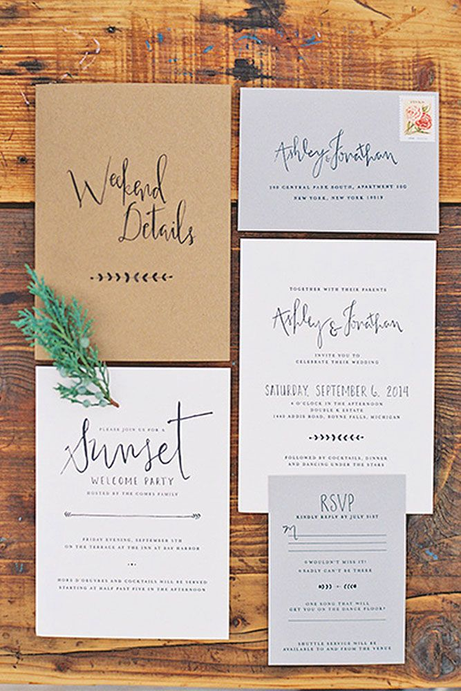 18 Rustic Wedding Invitations To Impress Your Guests ❤ Rustic wedding invitations with elements of wood, natural sprigs, kraft paper, and lace. See more: http://www.weddingforward.com/rustic-wedding-invitations/ #weddings #invitatio