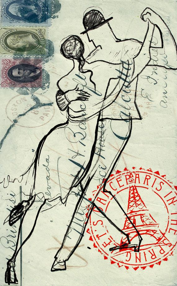 "Print painting Tango, fine art print indian ink dance illustration, artwork wall decor 8"" x 10"""
