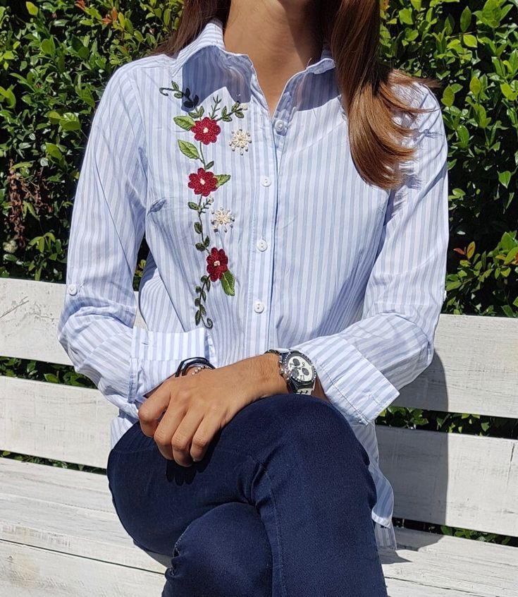 @marianabordados - camisa bordada a mano con hilo mouline