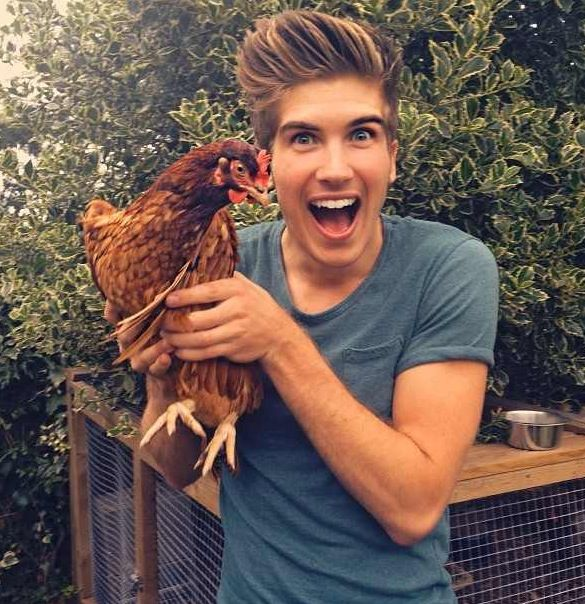 Joey Graceffa with a Cluckia XD