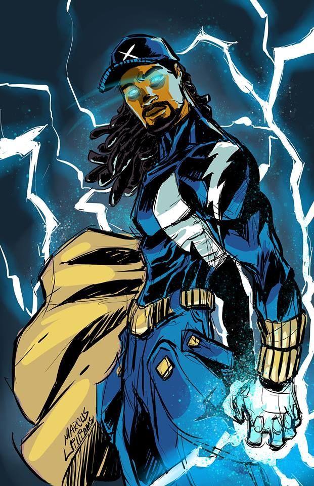 Adult Static... since y'know he's already a teen... so, yeah he deserves a grown man version. Peace Ya'll.  R.I.P. Dwayne McDuffie (The fellow that co-created Static) Marcus Williams