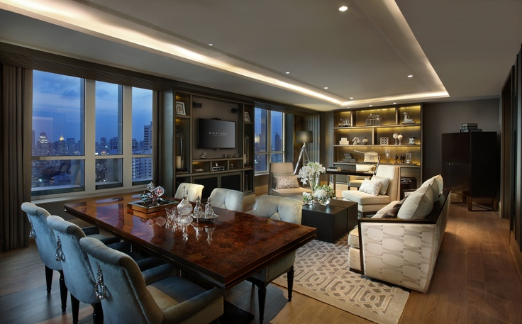 Imperial Suite's living room - a 170 m² (1,830 sqf.) masterpiece suite, offering #Club Millésime access, SMART LED TV's & Bose Lifestyle System #PinOfTheDay