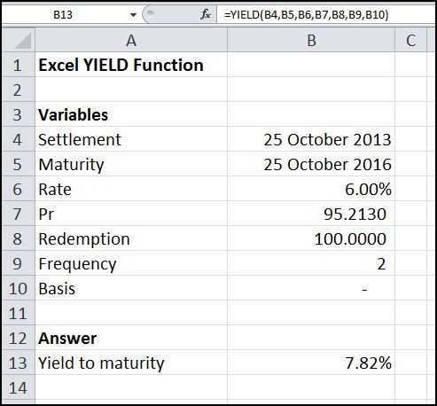 The Excel YIELD function calculates the yield to maturity on a bond, Its syntax is YIELD (Settlement, Maturity, Rate, Pr, Redemption, Frequency, Basis).