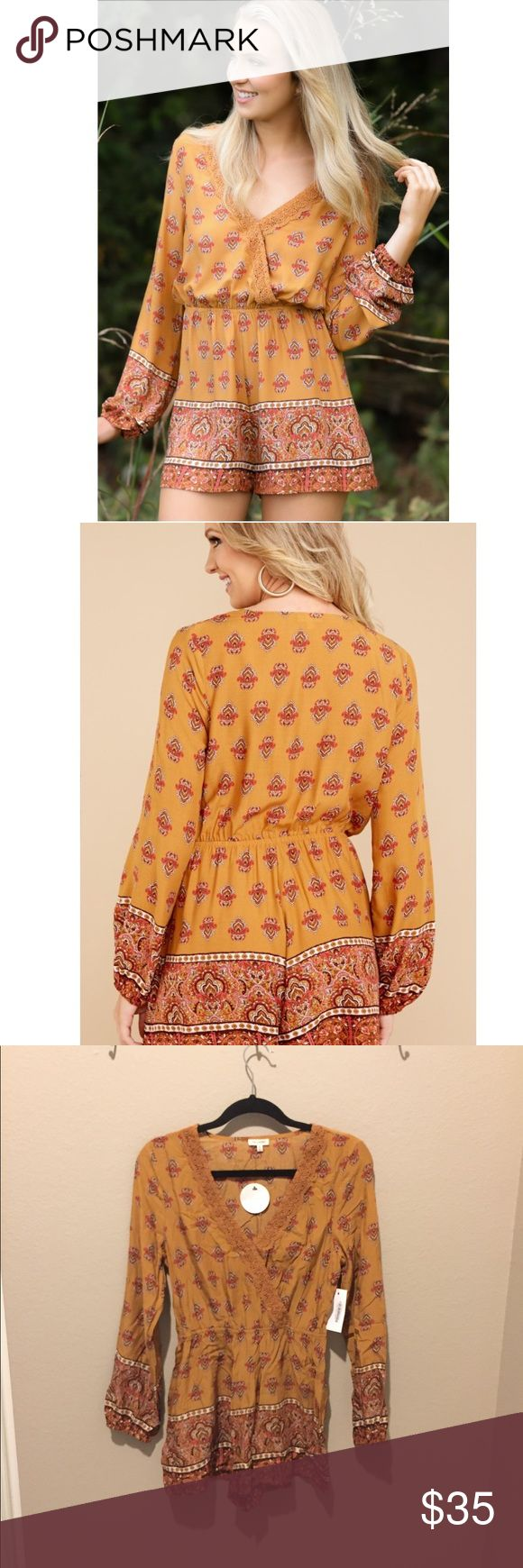 🎄Brand new bohemian romper Brand new with tags, purchased from Red Dress Boutique. Retails $46. Pretty mustard colored romper with fun bohemian print throughout. Features red and brown tones and fun details. Sizing seems to run a little small, juniors sizing but please ask for any measurements you'd like. en creme Pants Jumpsuits & Rompers