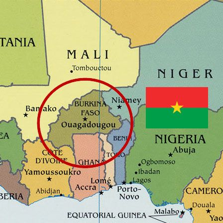 Map of Burkina Faso with Burkinabe flag