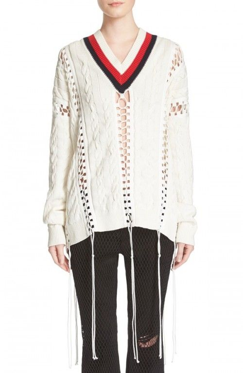 Alexander+Wang+Women's+Cricket+Lace+Up+Cable+Knit+Cotton+Sweater+|+Clothing