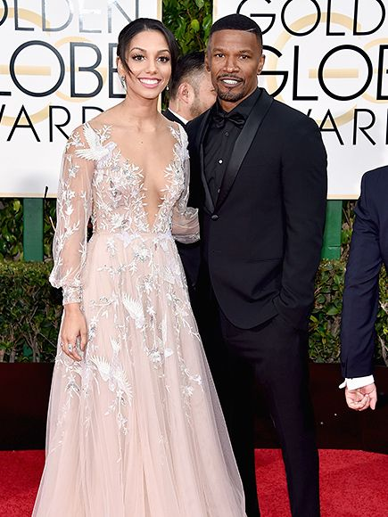 Double Takes: See Which Globes Stars Look the Most Like Their Family Dates | CORINNE BISHOP & JAMIE FOXX: 2 | Miss Golden Globes 2016 inherited those stage-worthy good looks from her proud papa.