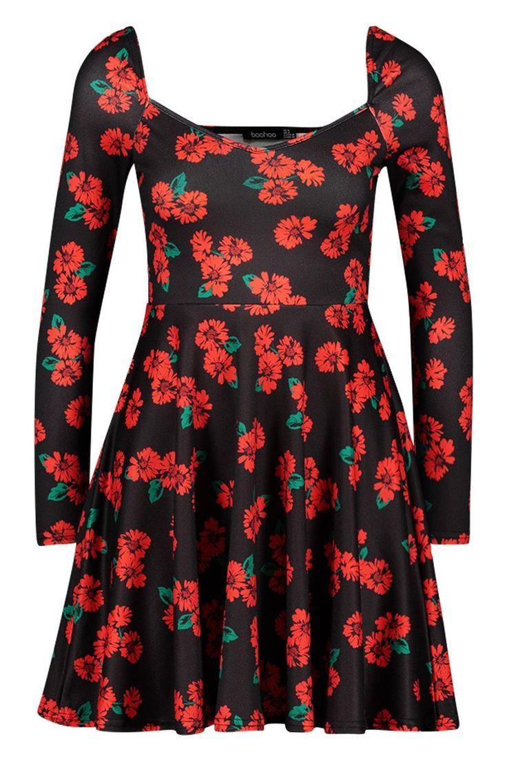 Petite langärmeliges Skater-Kleid mit Blumen-Print  Boohoo