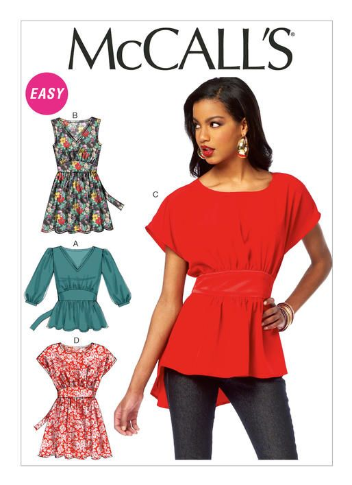 M6794 Misses' Gathered Tops and Tunics. Very loose-fitting, pullover tops and tunics have neckline variations, front gathered into midriff yoke, attached tie ends and narrow hem. A: Gathered three-quarter length sleeves and bands. A, B: V-neckline. B: Sleeveless. C: High-low hemline, wrong side shows and contrast yoke and ties. C, D: Round neckline and bodice extending to short sleeves. OOP